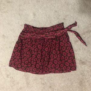 Pink and olive skirt with belt